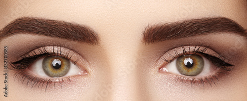 Slika na platnu Close-up macro of beautiful female eye with perfect shape eyebrows