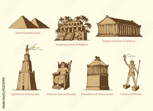 Murais de parede Vector symbols of The Seven Wonders of Ancient WORLD