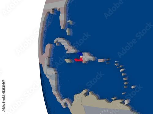 Haiti with national flag Fototapet
