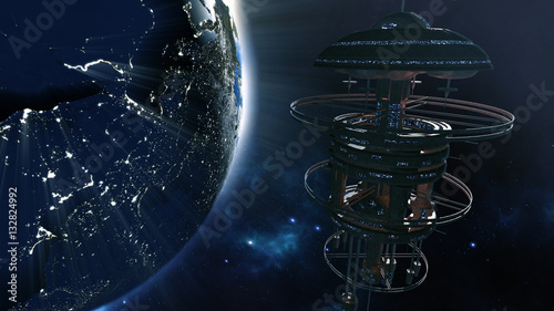 фотография 3d rendering. Powerful spacestation with city lighted earth globe