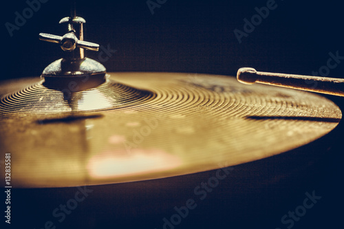 Canvas Print Drum stick and cymbal detail
