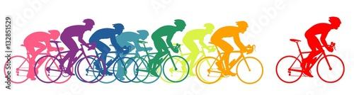 Zawodnicy na rowerze, kolorowi