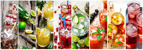 Food collage of fresh cocktails .