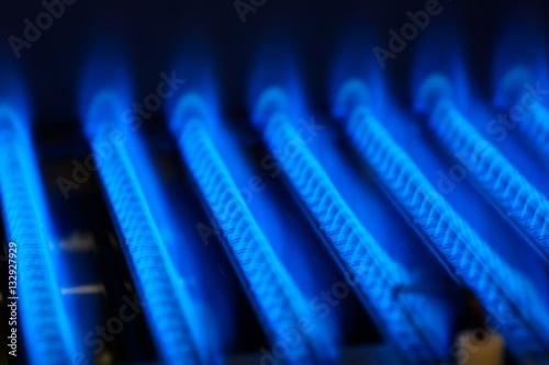 Canvas Print Propane flame inside of gas boiler furnace