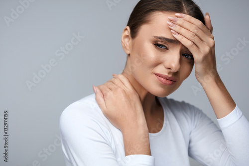 Stampa su Tela Beautiful Woman Feeling Sick, Having Headache, Painful Body Pain