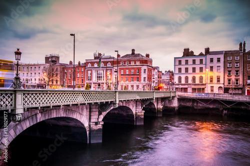 Canvas Print Historic Grattan Bridge over the River Liffey in Dublin Ireland at sunset
