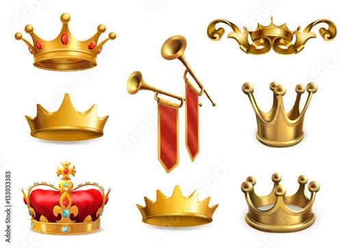 Złota korona króla. 3d zestaw ikon wektorowych Fototapeta
