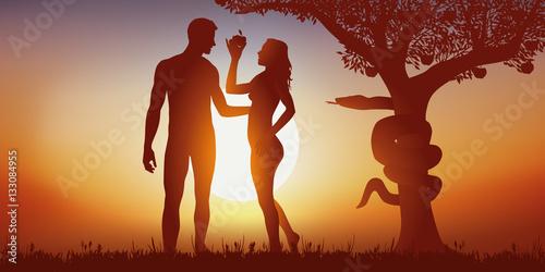 Canvastavla adam et éve - création - tentation - bible - pomme