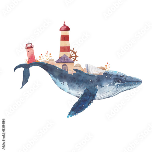 Fototapeta premium Akwarela kreatywny plakat wieloryba. Ręcznie malowany fantastyczny wieloryb morski z latarniami morskimi, roślinami, kołem, starą łodzią, kamieniami na białym tle. Sztuka żeglarska w stylu vintage