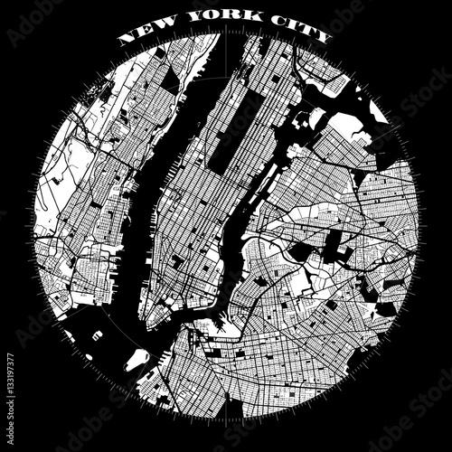 Photo New York City Manhattan Compass Design Map