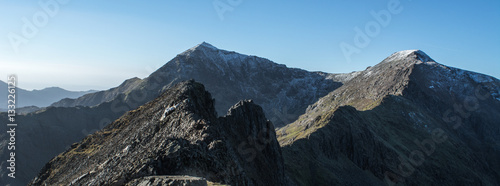 Canvas Print A view all the way along Crib Goch and the summit of Snowdon in north wales