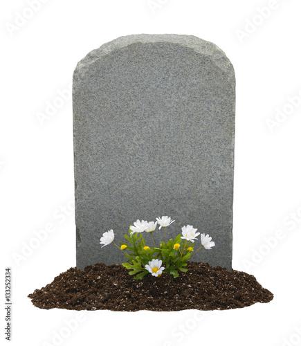 Canvas-taulu Gravestone and Flowers