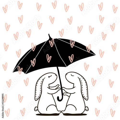 Ładny ręcznie rysowane królik w deszczu miłości. Tło dla ślubu, save datę, walentynka, etc, również zwrócić corel ilustracji wektora