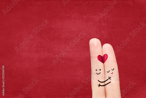 Fotografie, Tablou Couple in love with your finger on a solid background.