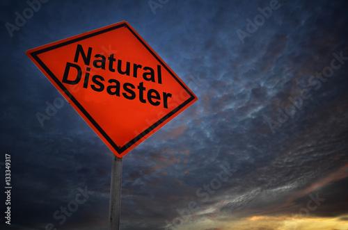 Fototapeta Orange storm road sign of Natural Disaster