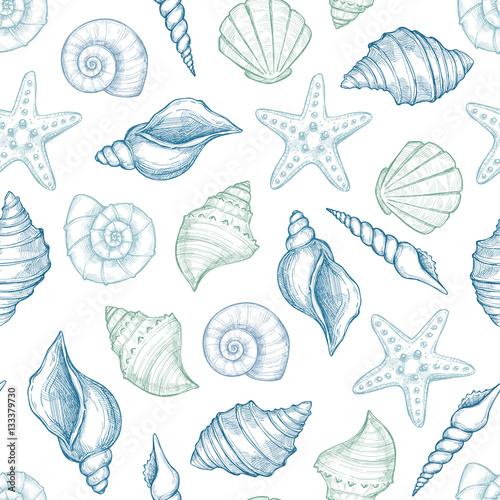 Cuadros en Lienzo Hand drawn vector illustrations - seamless pattern of seashells