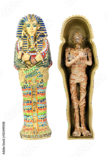 Canvas Print Toy model of  Egyptian sarcophagus and mummy. Isolated.