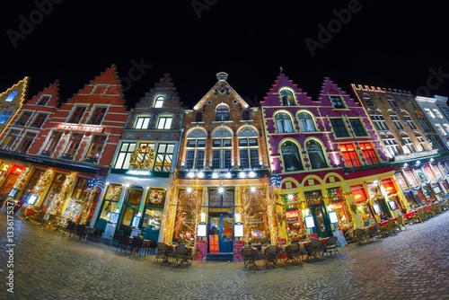 Christmas Old Market square in Bruges