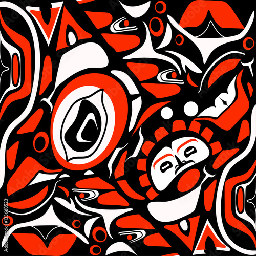 Photo abstract red background native north american