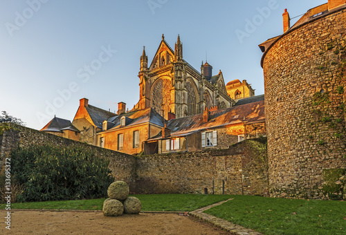 Saint Julian of Le Mans Cathedral in morning lights seen from the east, from Robert Triger Street, Pays de la Loire Fototapeta