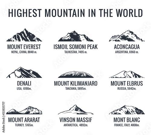 Fotografia Mountain tourist vector logos set