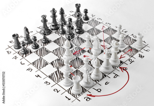 Fotografia Chess. White board with chess figures on it. Plan of battle.