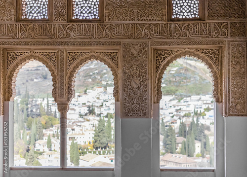 Fotografia Interior details from Alhambra, Granada, spain.