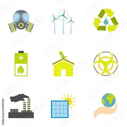 Платно Kind of energy icons set, flat style