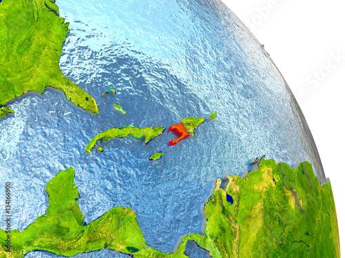 Canvastavla Haiti on Earth in red