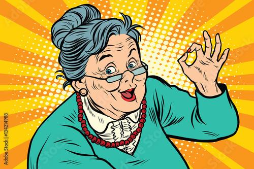 Obraz na plátne Grandma okay gesture, the elderly