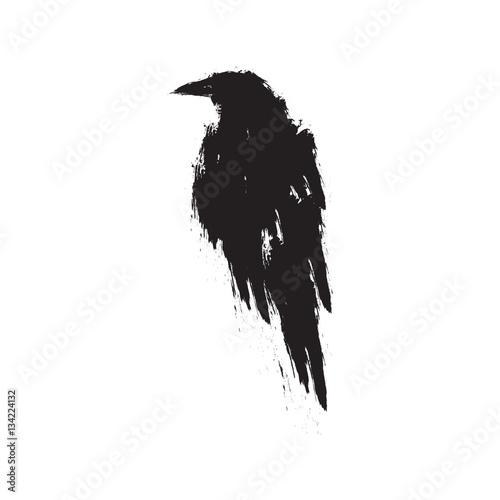 Canvas Print Black raven on a white background.