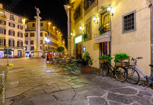Night view of narrow street in Florence, Tuscany. Italy