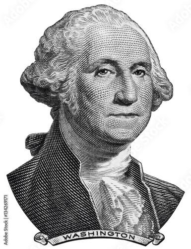 Fotografia US President George Washington face on one USA dollar bill macro isolated, 1 usd