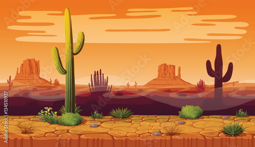 Fotografering Seamless background of landscape with desert and cactus.