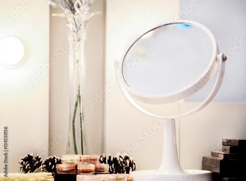 Valokuvatapetti Cosmetic set on light dressing table