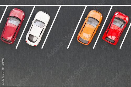 Fotografie, Obraz Top view of parking lane