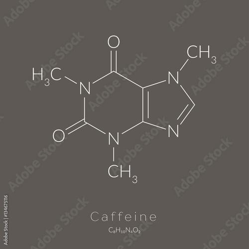 Fotografia Caffeine molecule chemical structure