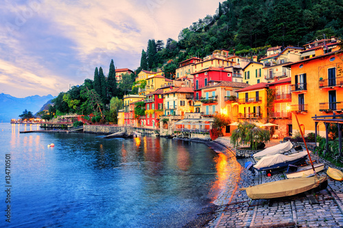 Photo Town of Menaggio on sunset, Lake Como, Milan, Italy