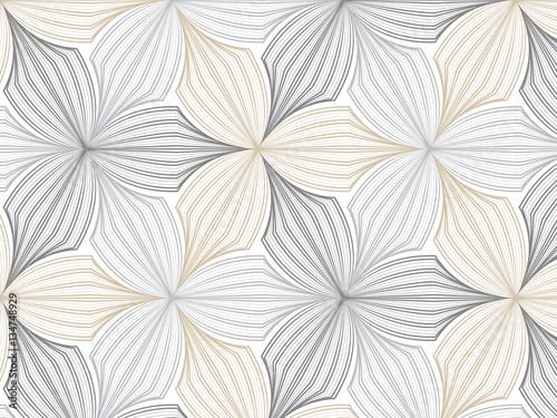 Ταπετσαρία τοιχογραφία flower pattern vector, repeating linear petal of flower, monochrome stylish