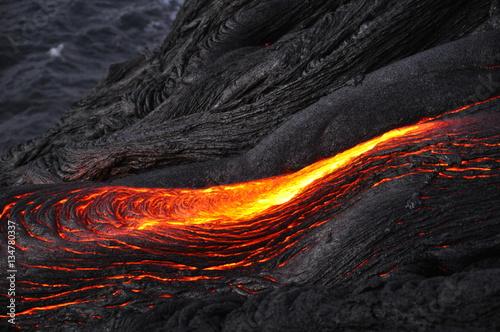 lava ocean entry in the morning