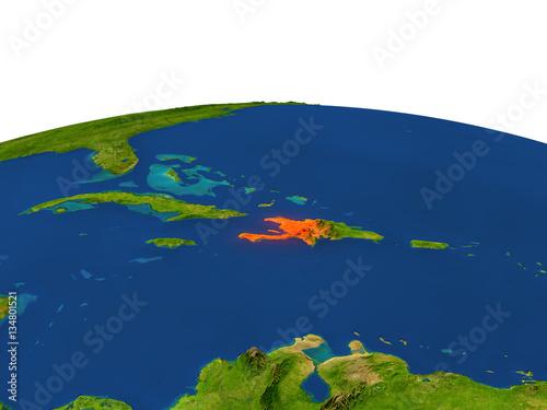 Fotografiet Haiti in red from orbit