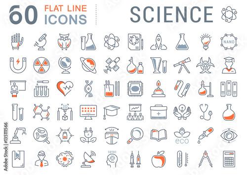 Fotografía Set Vector Flat Line Icons Science