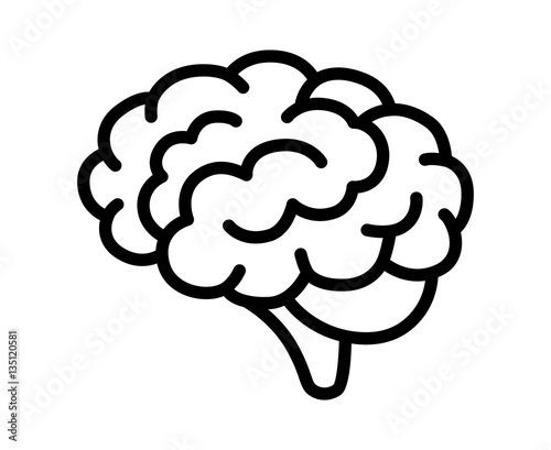 Canvas-taulu Brain or mind side view line art vector icon for medical apps and websites