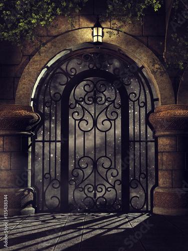 Photographie Baśniowa brama w zamku z lampą i bluszczem nocą