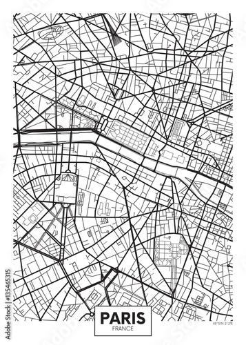 Fotografia Vector poster map city Paris