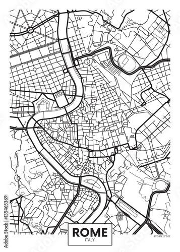 Fotografie, Obraz Vector poster map city Rome