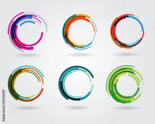 Fotografie, Obraz Geometric circle entwined wheels