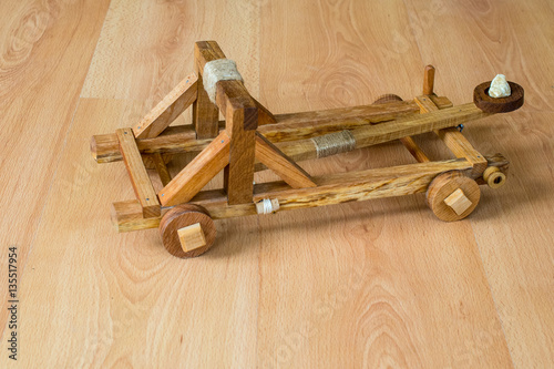 Leinwand Poster Handcraft homemade toy wooden catapult