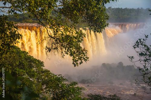 Iguazu Falls, beautiful sunset.