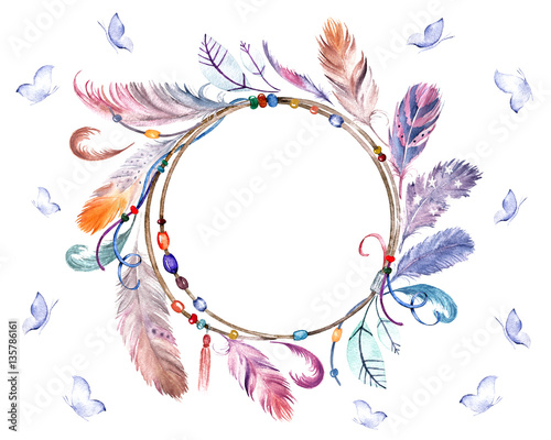 Watercolor colorful feathers frame with butterflies. Hand drawn wreath